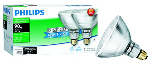 Philips 429373 Halogen PAR38 90 Watt Equivalent Dimmable Flood Standard Base Light Bulb, 2 Pack