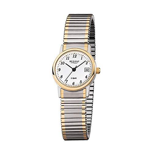 Regent F889 - Reloj de pulsera para mujer (acero inoxidable, correa dorada, bicolor)