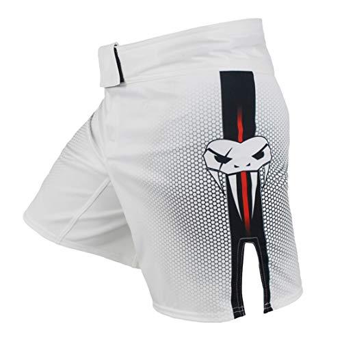 Carrey Pantalones cortos de boxeo Fight Shorts Grappling Shorts, Muay Thai Shorts Kick Boxing Artes Marciales Jaula Combate de Entrenamiento Equipamiento de Entrenamiento Fighting Shorts blanco M