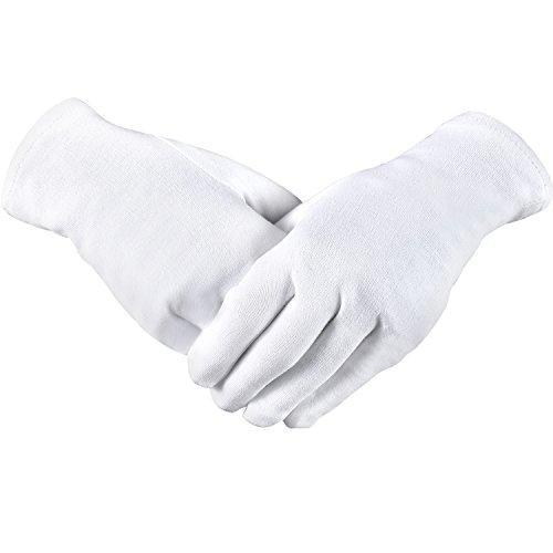 4 Paar Baumwolle Handschuhe Feuchtigkeitsspendende Handschuhe Kosmetische Hand Spa Handschuhe für Frauen und Mädchen, Weiß (S)
