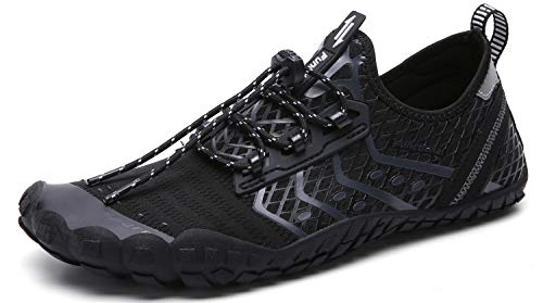 UBFEN Water Shoes Mens Womens Swimming Shoes Aqua Shoes Beach Sports Quick Dry Barefoot for Boating Fishing Diving Surfing with Drainage Driving Yoga D Black Grey 13 Women / 11 Men