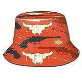 RUEMAT Sombrero Pescador Unisex,Dibujado a Mano de Patrones sin Fisuras del Salvaje Oeste,Plegable Sombrero de Pesca Aire Libre Sombrero Bucket Hat para Excursionismo Cámping De Viaje Pescar