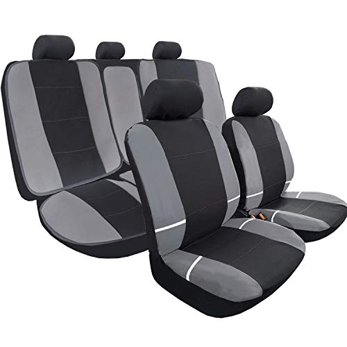 Big Ant Car Seat Covers, Breathable Full Set Flat Cloth Fabric Seat Covers with 2 Detachable Headrests Separated Back Seat Cover - Fit Most Car, Truck, SUV, or Van (Black and Gray)