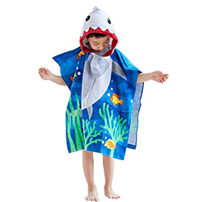 """100% Cotton Shark Hooded Towels for Kids, Super Soft and absorbent, 25""""x25"""" Large Size Cover Up Towel Wrap with Side Button, Bath/Beach/Swimming/ Bathrobe Poncho for for Children Toddlers Under Age 6"""