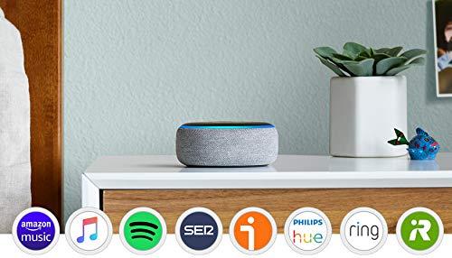 Echo Dot (3.ª generación) Reacondicionado Certificado - Altavoz inteligente con Alexa, tela de color gris oscuro