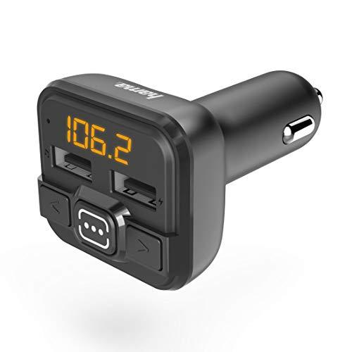 Hama FM Transmitter fürs Autoradio mit AUX, USB und Kfz Ladegerät (Auto Adapter für Zigarettenanzünder Buchse mit 3,5 mm Klinken Anschluss und 2 USB Anschlüssen für USB Stick und zum Laden) schwarz