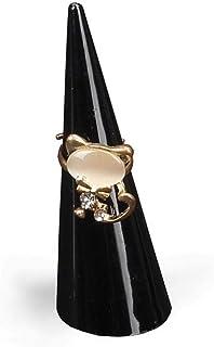 Febelle Mini Acrylique Bague Support Bijoux Femme Mariage Engagement Bague Bijoux Exhibition Orgnizer Noir