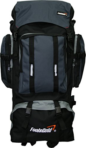 Foolsgold Extra große Trekkingrucksack Wanderrucksack mit doppeltem Zugang - Grau