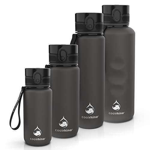coolrhino Drinkfles - Sport Water Bidon - Waterfles 650ml / 1l / 1,5L - Drinkfles met Tijdmarkering - Lekvrij - Fitness - Outdoor - Hardlopen - BPA Vrij - Herbruikbaar - Duurzaam en Milievriendelijk (Zwart, 1000ml)