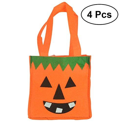 BESTOYARD 4 stks Halloween snoepjes Goody Tassen Niet-geweven Stof Draagbare Cartoon Gift Tassen Tote Tassen voor Kinderen (Orange Pompoen)