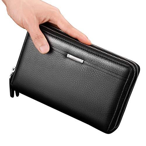 WENMWMen's Handtas Lederen Zakelijke Handtas Portemonnee met Rits Heren Koppeling voor Credit Cards Cash Checkbook Munten