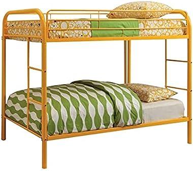 Nadim Handicraft Twin Over Twin Metal Bunk Bed in Yellow