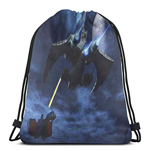 FULIYA Gym Drawstring Bags Backpack,Spaceship Blasts A Laser Beam An Enemy Alien Ship Galaxy Clash Outer Space Pattern,Unisex Drawstring Backpack