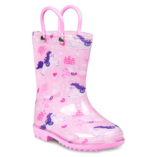ZOOGS Printed Kids Toddler Rain Boots for Girls and Boys,Unicorn,10