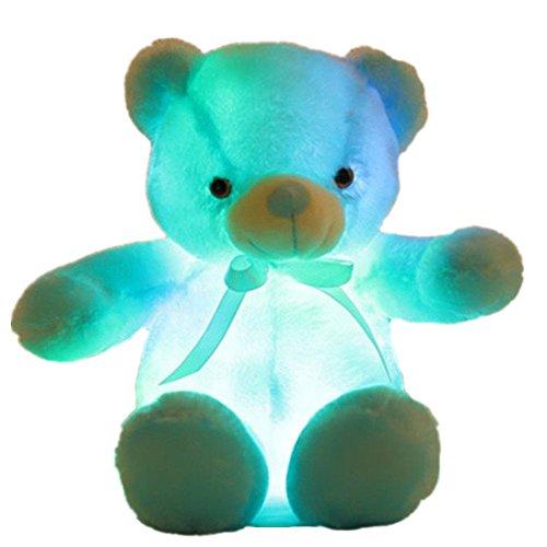 Creative Light Up LED Inductive Teddy Bear Stuffed Animals Plush Toy Colorful Glowing Teddy Bear, 20- Inch(Blue)