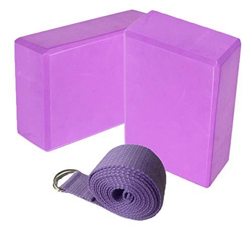 Fauhsto 2pcs Yoga Blocks + 1 Yoga Strap Set Eco Friendly Lightweight EVA Foam Comfortable...