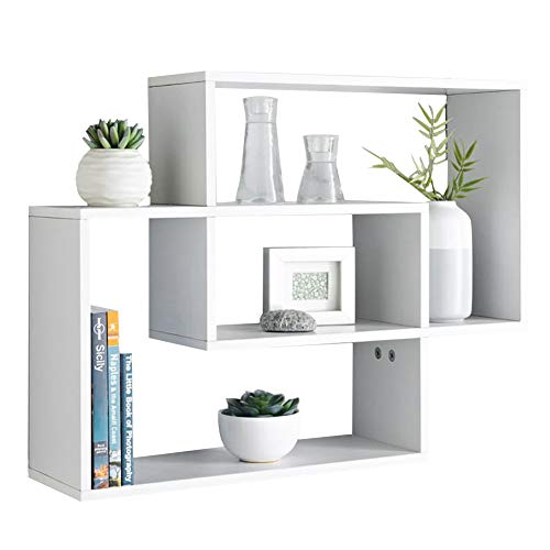 INMOZATA Multi Compartment Wall Shelf Floating Cube Shelves Wall Mounted Shelves Display Wall Decoration Storage Shelves White