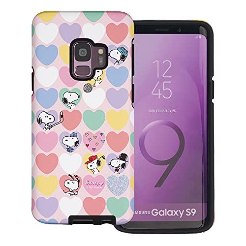 Galaxy S9 Plus ケース と互換性があります Peanuts Snoopy ピーナッツ スヌーピー ダブル バンパー ケース デュアルレイヤー 【 ギャラクシー S9 プラス ケース 】 (ハート 柄 スヌーピー) [並行輸入品]