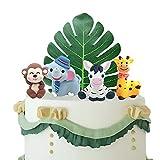 GEORLD Edible Cake Toppers Jungle Animal Set Hand Safari Sugar Decorations for Cupcakes, Cakes Zoo & Safari Themed Party