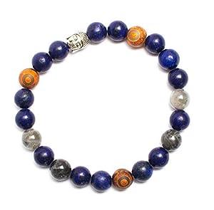 Kimaya Herren-Armband, handgefertigt, aus Natursteinen Achat DZI, Lapislazuli, Labradorit und indischer Achat, Schutz ~