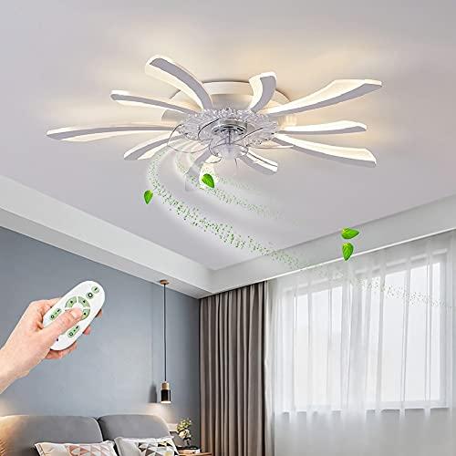 Ventilador de Techo silencioso con luz y mando a distancia LED lámpara de techo salon modernas Ventilador con iluminación Regulable Plafon de techo con ventilador dormitorio Lámpara Blanco 80cm