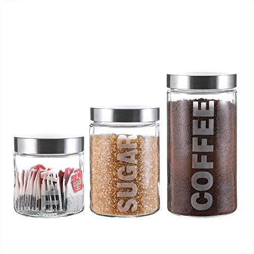 Glass Canister Set with Stainless Steel Lids 57/44/29 Ounce for Coffee, Sugar and Tea (3-Piece Assorted)