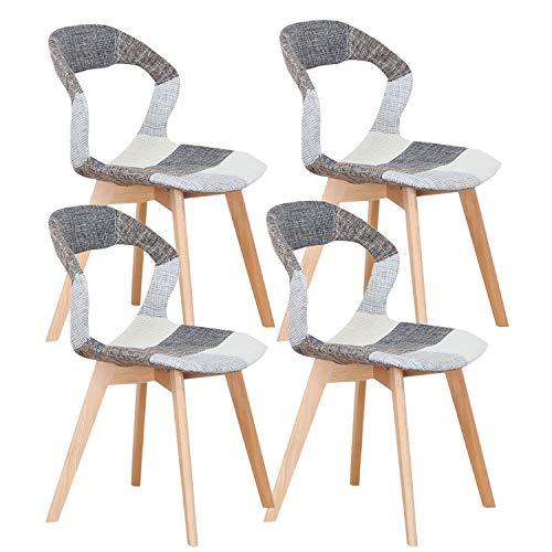 Un conjunto de 4 sillas de comedor / sillas de café, respaldo calado de madera maciza, estructura estable, silla de comedor (negro y gris y blanco)