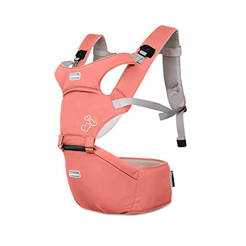 SONARIN Front Premium Hipseat Porte-bébé Baby Carrier,Multifonctionnel, Ergonomique,100% Coton, Boucle Rotative à Papillon, 6 positions de transport, Sûr et Confortable(Rose)