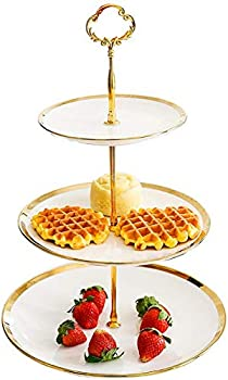 CofeLife 3 Tier Ceramic Cupcake Stand – Elegant Cake Stand - Dessert Stand Display - 3 Tier Serving Tray for Tea Party Wedding and Birthday  White Gold