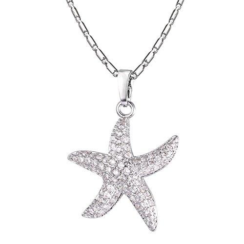U7 Stern Seestern Charm Anhänger Halskette für Damen Mädchen Cubic Zirkonia platiniert Maritim Strand Meer Urlaub Modeschmuck Geschenk für Geburtstag Weihnachten