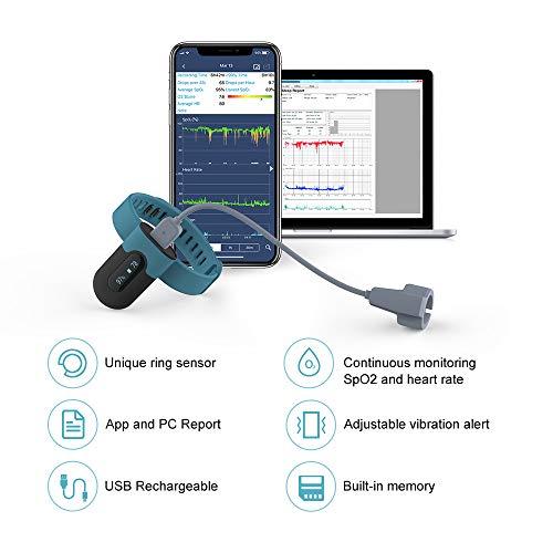 Sauerstoffsättigungs-Monitor, am Handgelenk tragbarer Sauerstoffmonitor, Überwachung des Sauerstoffpegels im Schlaf mit Vibrations-Feedback, Bluetooth Herzfrequenz Monitor - 2