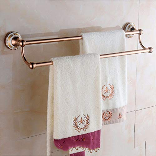Badaccessoires Sets Im europäischen Stil Rose Gold Keramik Bad Accessoires Anzug Falten Handtuchhalter, 2-polig
