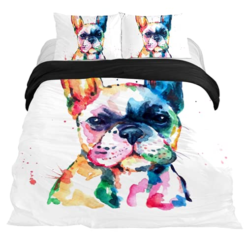 Dragon Sword 3PCS Bed Sheet Set Watercolor French Bulldog Printed Microfiber Comfortable Comforter Cover with 2 Pillow Cases Queen/Twin/Full/King Sheets