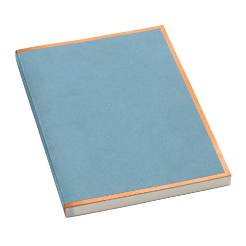 Semikolon (355822) Notizbuch metallic A4 Kupfer-Kante ciel (hell-blau) liniert - Mit 200 perforierten Seiten - Efalineinband mit Metallic-Effekt