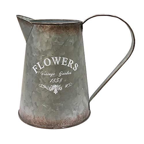 Whhome Gießkanne im Shabby-Chic-Stil, silberfarben, verzinkte Oberfläche, rustikaler Krug, dekorativer Blumenhalter, 17 cm H