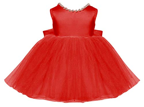 DEMU baby meisjes verjaardag doop jurk prinses bruidsjurk rugvrij bloemenmeisjesjurk open rug 100 rood