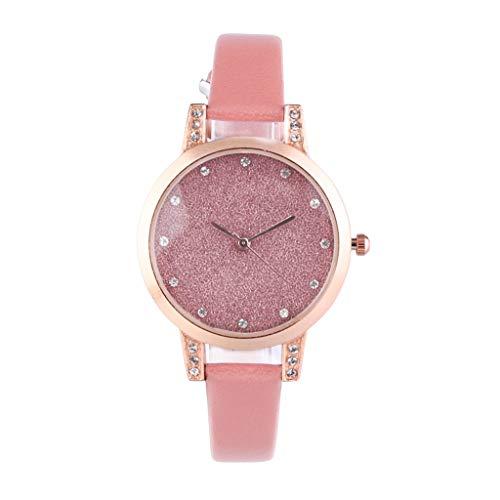 UINGKID Damen Armbanduhr Analog Quarz Temperament Convex Glass Matt Simple Strass Dial Ledergürtel Uhr