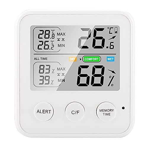 Termómetro e higrómetro digital LCD, higrómetro electrónico para interiores domésticos, termómetro y estación meteorológica, adecuado para dormitorio, oficina, familia, cuarto de bebé, cuarto de baño