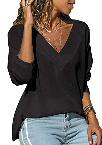 Generic Damen Sweatshirt Langarmshirt V-Ausschnitt Pullover Casual Sport Shirt Oberteile mit Tie Back, Neu-schwarz, S