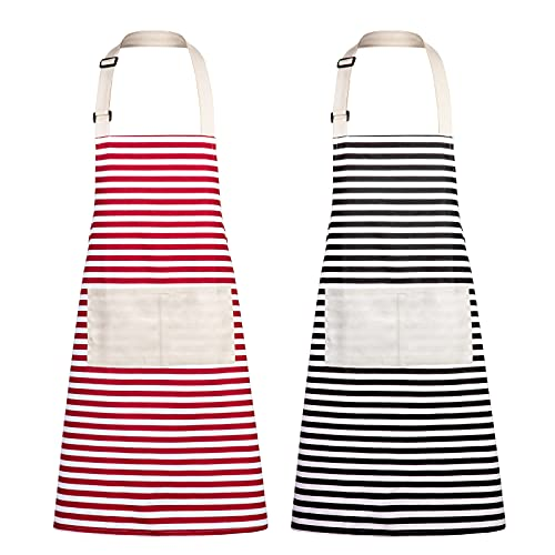 Xornis 2 Pack Poly-Cotton Canvas Aprons for Women with 2 Pockets Striped Kitchen Cooking Chef Adjustable Bib Apron, Black & Red
