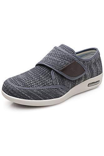 Youyun Men's Diabetic Elderly Shoes Large Size Plus Fertilizer Widening Velcro Shoes Adjustable Foot Swelling Shoes Non-Slip Double Insole Air Cushion Bottom Walking Shoes Dark Grey 8