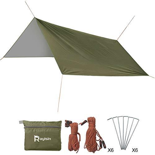 Anti-UV Zeltplane, Tarp für Hängematte, Sonnenschutz Camping Zelt Tarp, 210D Ultraleicht Tent Tarp, Regenschutz Outdoor Plane, 300 x 288 cm Camping-Plane mit Tragbare für Camping, Wandern, Reisen
