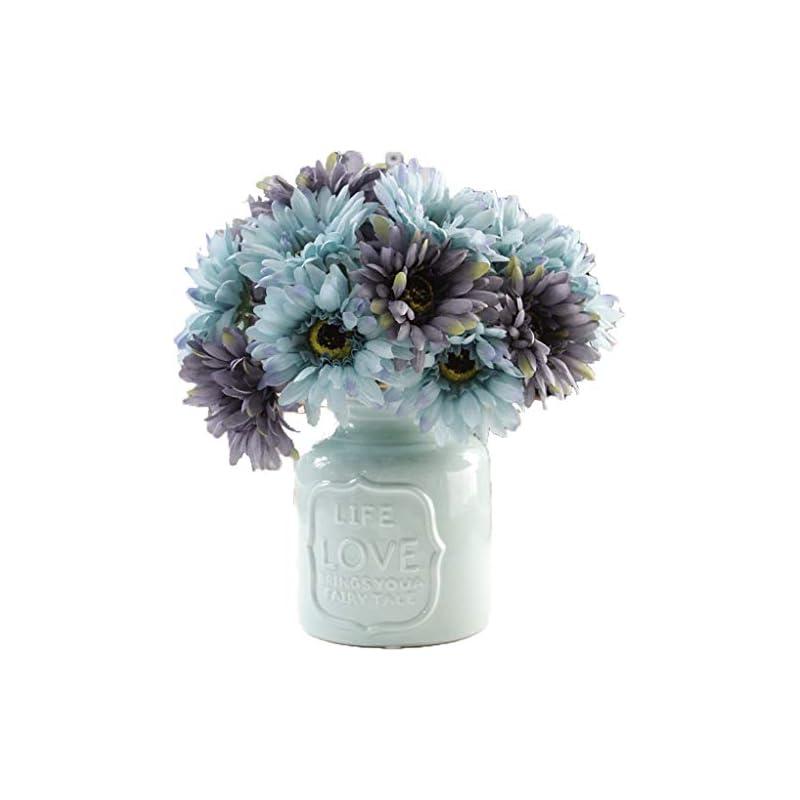 silk flower arrangements lnhomy daisy artificial flowers 14 stems silk daisies flower for wedding bouquet living room office party diy home decoration, (blue grey)