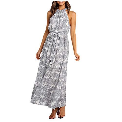 Sannysis Damen Boho Sommerkleid mit Paisley Print Strandkleid Mode Neckholder Ärmellos Lang Elegant Freizeitkleid Maxikleid mit Gürtel Kleider Floral Abendkleider
