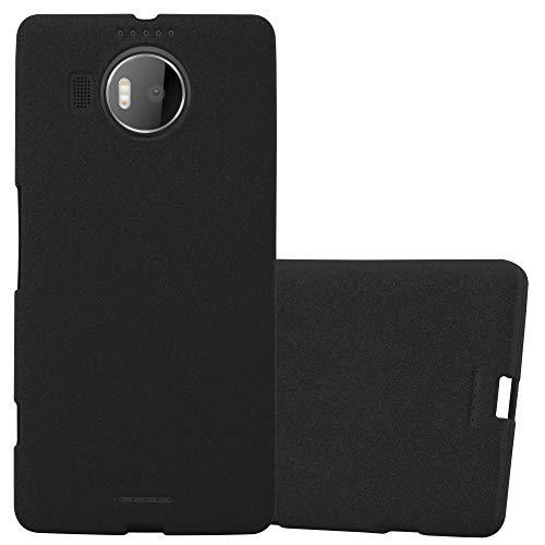 Cadorabo Hülle für Nokia Lumia 950 XL - Hülle in Frost SCHWARZ – Handyhülle aus TPU Silikon im matten Frosted Design - Silikonhülle Schutzhülle Ultra Slim Soft Back Cover Hülle Bumper