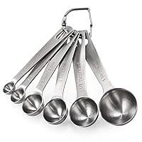 u-taste cucchiai dosatori, set di 6 misurini in acciaio inox 18/8 measuring spoons preciso cucina misurini cucchiai dosatore set per misurazione a secco e ingredienti liquidi