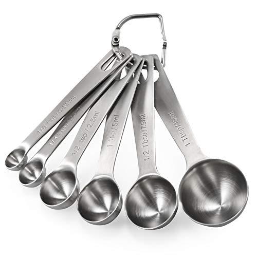 U-Taste 18/8 Stainless Steel Measuring Spoons Set of 6, (1/8 TSP, 1/4 TSP, 1/2 TSP, 1 TSP, 1/2 tbsp & 1 tbsp) for Dry and Liquid Ingredients
