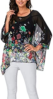 LeaLac Women Summer Contemporary Designer Hawaiian Shirt Batwing Sleeve Chiffon Casual Loose Floral Printed Top