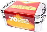 JUMBO Stainless Steel Bento Box   EXTRA LARGE Double Decker   Holds 70% MORE FOOD Than Comparable...