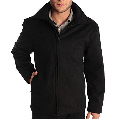 "Mens 28"" Open Bottom Zipper Jacket Wool Blend Coat By Alpine Swiss Bomber Jeans Medium Black"